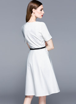 Elegant Striped Splicing High Waist A Line Dress