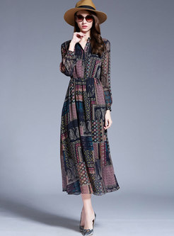 Stylish Print High Waist Slim Maxi Dress