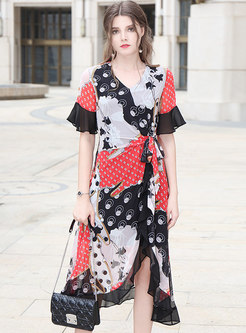 Elegant Print V-neck Tie-waist Asymmetric Slim Dress