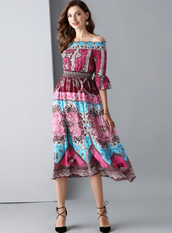 Print Slash Neck Gathered Waist Skater Dress
