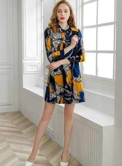 Casual Standing Collar Bowknot Tied Dress