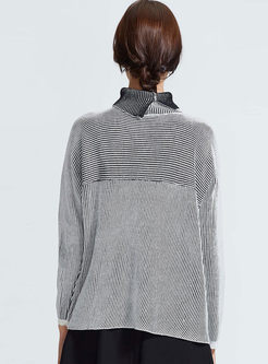 High Neck Striped Loose Pullover Sweater