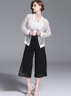Stylish Hollow Out Zippered Thin Coat