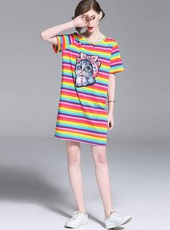 Rainbow Striped Cat Print T-shirt Dress