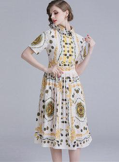 Stylish Print Lapel Gathered Waist Pleated Dress