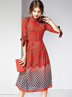 Polka Dot Stand Collar Slim A Line Dress