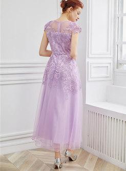 Mesh Embroidered High Waist Hem Maxi Dress