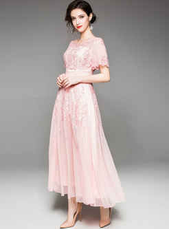 Pink Embroidered Gathered Waist Slim Party Maxi Dress