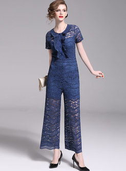 Sexy Lace Short Sleeve Perspective Slim Jumpsuit