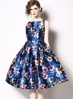 Print Sleeveless A Line Homecoming Dress