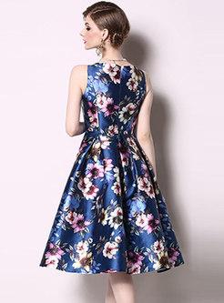 Print Sleeveless A Line Homecoming Dress
