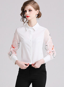Brief Embroidered Lantern Sleeveless Blouse
