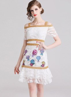 White Off Shoulder Mesh Embroidered Sheath Dress