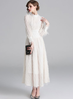 Mock Neck Fringed Lantern Sleeve Maxi Dress