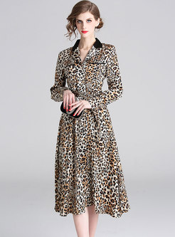 Sexy Leopard Lapel Tied Single-breasted Skater Dress