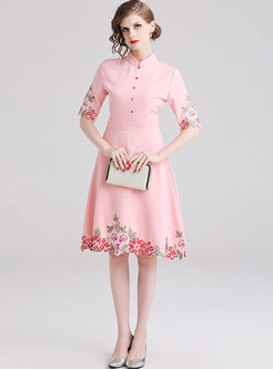 Fashion Embroidered Standing Collar Skater Dress