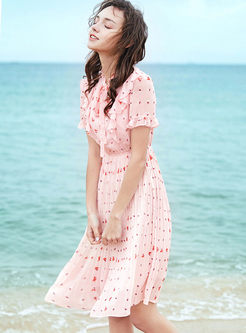Standing Collar Print Chiffon Pleated Dress