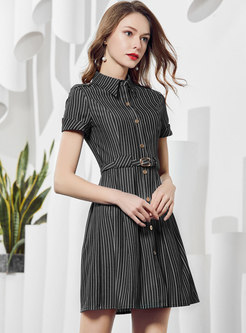 Striped Gathered Waist Single-breasted Skater Dress