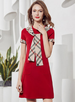 Stylish Plaid Tied Splicing T-shirt Dress