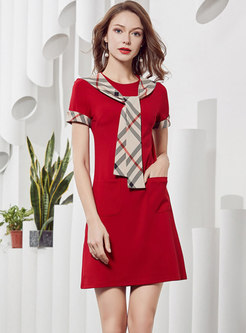 5601b4dbe3 Stylish Plaid Tied Splicing T-shirt Dress