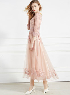 Mesh Embroidered Drilling Party Maxi Dress