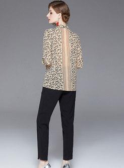 Leopard Stand Collar Blouse & High Waist Pencil Pants