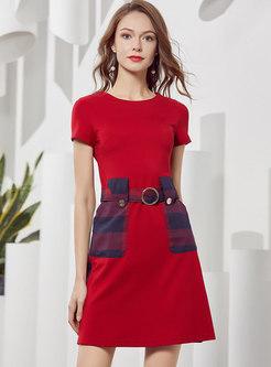 Casual Color-blocked Patchwork Skater Dress