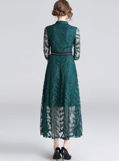 Mock Neck Openwork Party Lace Maxi Dress