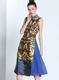 Sleeveless Pleated Improved Cheongsam Dress