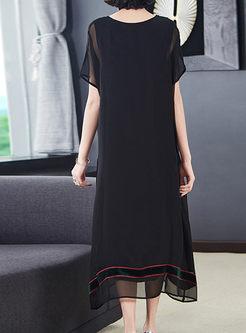 O-neck Loose Embroidered Polka Dot Dress