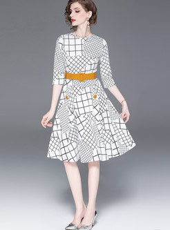 Chic Geometric Print Belted A Line Dress