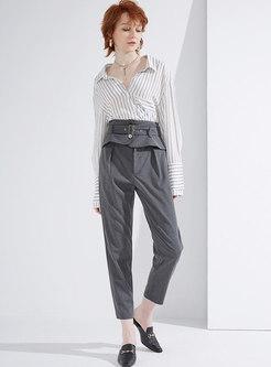 Elegant High Waist Belted Pencil Pants