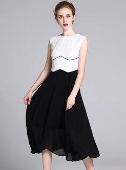 Elegant Color-blocked Sleeveless Hem Skater Dress