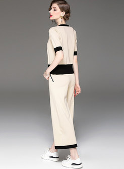 Casual Color-blocked V-neck Knitted Top & Wide Leg Pants