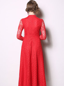 Lace Openwork Long Cocktail Dress