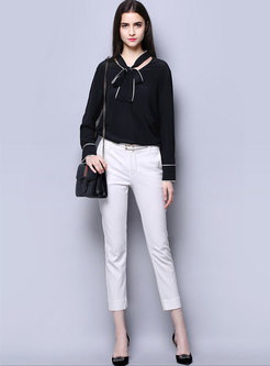 Fashion Tied Hollow Out Slim Silk Blouse