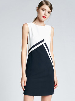 Elegant Color-blocked Sleeveless Bodycon Dress