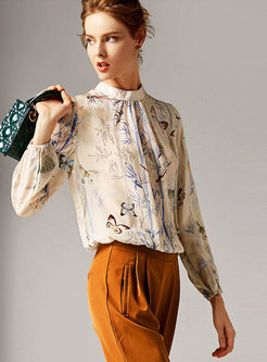 Chic Print Stand Collar Pullover Blouse