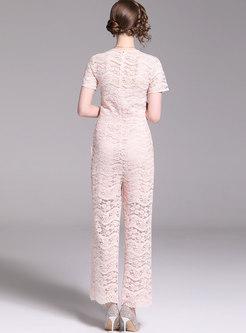 Stylish Lace High Waist Falbala Slim Jumpsuit