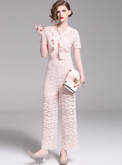 Stylish Lace High Waist Falbala Slim Jumpsuit