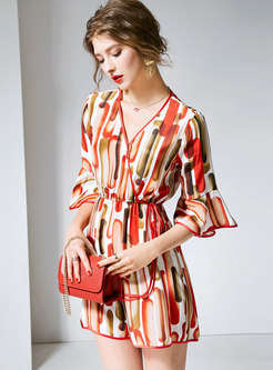 Stylish Print V-neck Tie-waist Slim Rompers