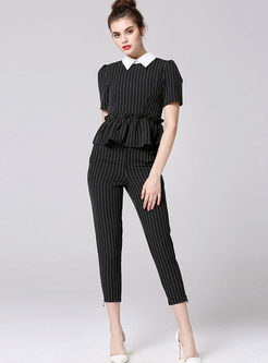 Casual Lapel Striped Slim Two Piece Outfits