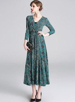 Elegant V-neck High Waist Slim Maxi Dress