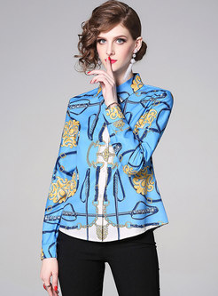 Vintage Print Turn-down Collar Blouse