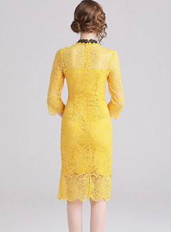 Mock Neck Lace Embroidered Sheath Dress