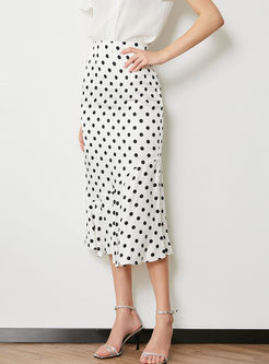 High Waist Polka Dot Print Mermaid Skirt