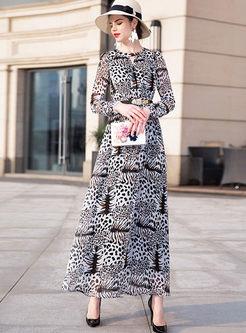 Retro O-neck Long Sleeve Leopard Chiffon Dress