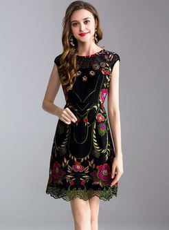 Black Embroidered Sleeveless A-line Dress