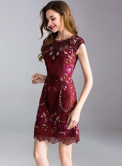 Stylish Ethnic Embroidery O-neck A-line Dress