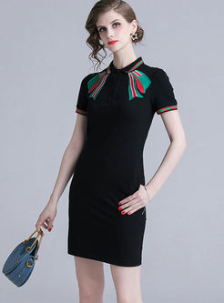 Casual Lapel Bowknot Embroidered Dress